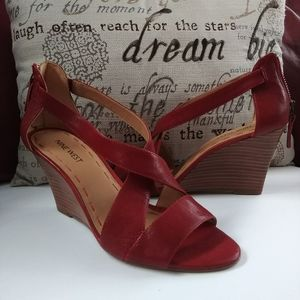 NWOT Nine West Red Wedge Ankle Strap Open Toe Heel